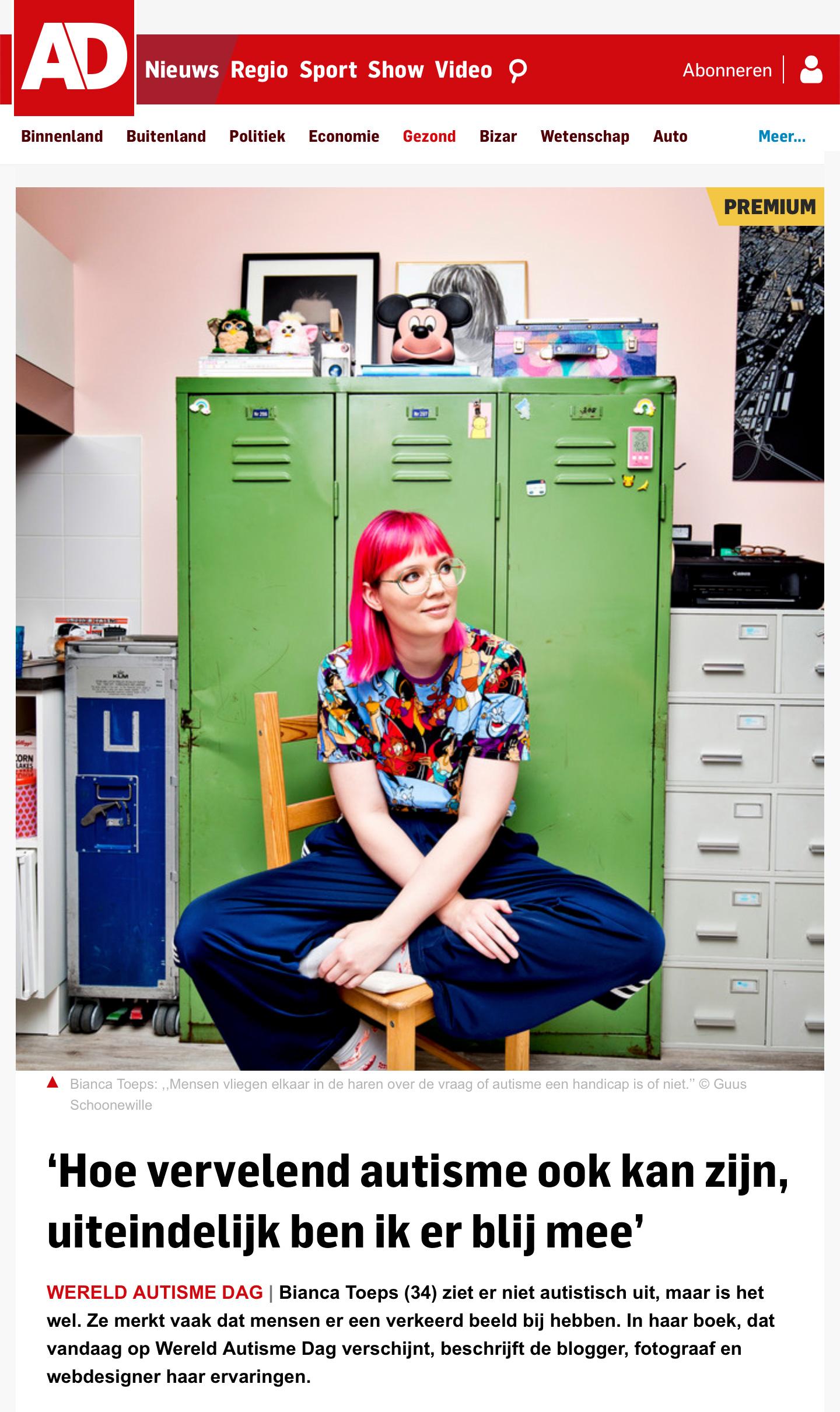 Bianca Toeps in Algemeen Dagblad over autisme