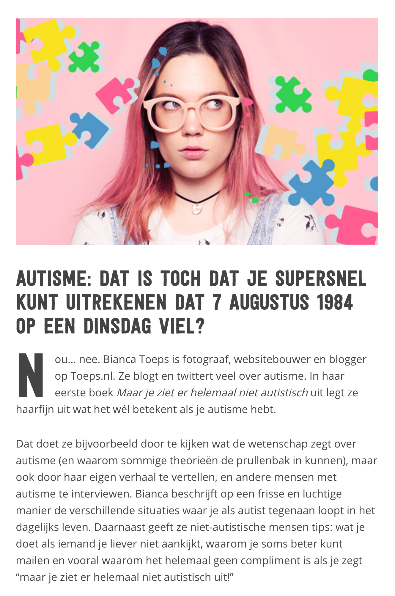 Bianca Toeps in Paagman Magazine over autisme